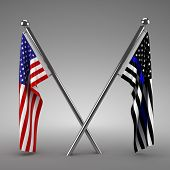American flag and Police flag - 3d render