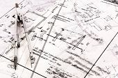 Business Background Made Out Of Construction Plans