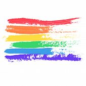 Conceptual Poster With Lgbt Rainbow Flag. Colorful Messy Handdrawn Flag Isolated On White Background poster