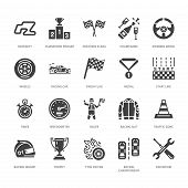 Car Racing Vector Flat Glyph Icons. Speed Auto Championship Signs - Track, Automobile, Racer, Helmet poster