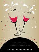 Resumen de antecedentes con Copa de vino artística y espacio para texto