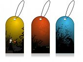 vector set of three dry tree, grungy concept tag for halloween
