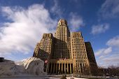 picture of jimmy  - City Hall in Buffalo NY taken from Niagara Square with lion statue in foreground - JPG
