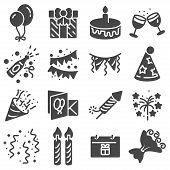 Birthday Icons And Party Icons With White Background poster