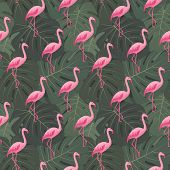 Tropical Seamless Pattern With Pink Flamingos. Summer Floral Background With Tropic Palms, Green Mon poster