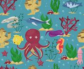 Sea Animals Seamless Pattern Background Vector Water Plants Ocean Fish Cartoon Illustration Undersea poster