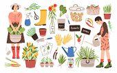 Collection Of Two Female Gardeners And Gardening Tools - Watering Can, Fruit Baskets, Seeds, Pruner, poster