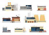 Industrial Factory And Manufacturing Plant Exterior Flat Vector Icons For Industry Concept. Illustra poster