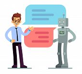 Man Chatting And Asking For Help Bot. Chatbot Vector Concept. Chat Bot Web Online Service, Robot Sup poster