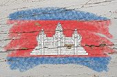 Flag Of Cambodia On Grunge Wooden Texture Painted With Chalk