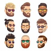 Cartoon Bearded Hipster Man And Male Hairstyle Vector Set. Hipster Male With Beard And Fashion Hairs poster
