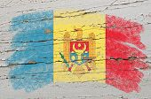 Flag Of Moldova On Grunge Wooden Texture Painted With Chalk