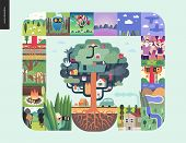 Simple Things - Forest Set On A Mint Background - Flat Cartoon Vector Illustration Of Hunter, Trees, poster