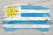 Flag Of Uruguay On Grunge Wooden Texture Painted With Chalk