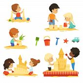 Active Kids Playing In The Sandbox. Happy Characters Isolate. Vector Activity Little Baby On Sand Be poster
