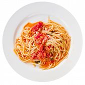 Spaghetti With Spicy Tomato Sauce On White Plate poster