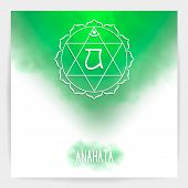 Fourth, Heart Chakra - Anahata. Illustration Of One Of The Seven Chakras. The Symbol Of Hinduism, Bu poster