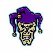 Mascot Icon Illustration Of Head Of A Court Jester, Joker, Fool,story-teller Or Minstrel Skull Viewe poster