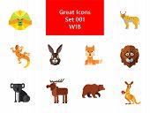 Animal Icon Set. Lynx Lizard Fox Hare Head Bear Koala Lion Face Red Squirrel Brown Moose Yak Kangaro poster