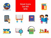 Book Icon Set. Book And Magnifier Reading Book With Glasses Bookshelf E-book Children With Tales Boo poster