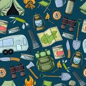 Seamless Pattern Of Travel Equipment. Accessories For Camping And Camps. Colorful Sketch Cartoon Ill poster
