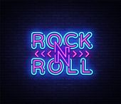 Rock And Roll Logo In Neon Style. Rock Music Neon Night Signboard, Design Template Vector Illustrati poster
