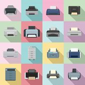 Printer Office Copy Document Icons Set. Flat Illustration Of 16 Printer Office Copy Document Vector  poster