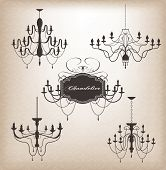 Set Of Different Chandelier Silhouettes. Eps 10 Vector.