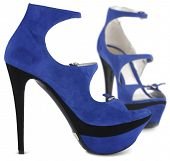 stock photo of high-heels  - blue summer female shoes isolated on white background - JPG