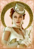stock photo of cameos  - a refined young lady in vintage style - JPG