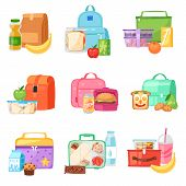 Lunch Box Vector School Lunchbox With Healthy Food Fruits Or Vegetables Boxed In Kids Container In B poster