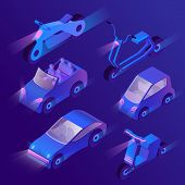 Vector Set Of Isometric Urban Transportation At Night With Turned On Headlights. Private Cars And Ot poster