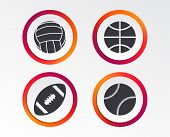 Sport Balls Icons. Volleyball, Basketball, Baseball And American Football Signs. Team Sport Games. I poster