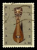 GREECE-CIRCA 1966:A stamp printed in Greece shows image of The Cretan lyra is a Greek pear-shaped, t