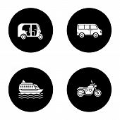 Постер, плакат: Public Transport Glyph Icons Set Modes Of Transport Auto Rickshaw Minivan Cruise Ship Motorbike