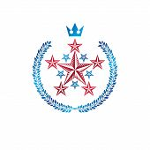 Military Star Emblem Created With Royal Crown And Laurel Wreath. Heraldic Vector Design Element, 5 S poster
