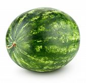 Single Ripe Green Watermelon Isolated On White Background With Clipping Path poster