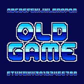Old Game Alphabet Font. Colorful Pixel Gradient Letters And Numbers. Retro 80s Video Game Typeset. poster