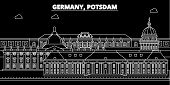 Potsdam Silhouette Skyline. Germany - Potsdam Vector City, German Linear Architecture, Buildings. Po poster
