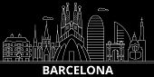 Barcelona Silhouette, Skyline. Spain - Barcelona Vector City, Spanish Linear Architecture, Buildings poster