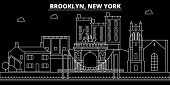Brooklyn Silhouette Skyline. Usa - Brooklyn Vector City, American Linear Architecture, Buildings. Br poster