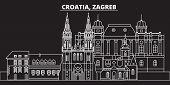 Zagreb Silhouette Skyline. Croatia - Zagreb Vector City, Croatian Linear Architecture, Buildings. Za poster