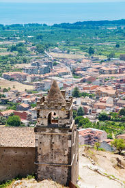 stock photo of calatabiano  - medieval chapel and view on seacoast in Sicily - JPG