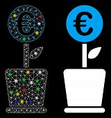 Glossy Mesh Euro Project Pot Icon With Glare Effect. Abstract Illuminated Model Of Euro Project Pot. poster