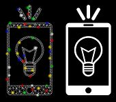 Glowing Mesh Mobile Lamp Light Icon With Lightspot Effect. Abstract Illuminated Model Of Mobile Lamp poster