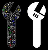 Flare Mesh Spanner Icon With Glow Effect. Abstract Illuminated Model Of Spanner. Shiny Wire Carcass  poster