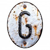 3D render capital letter G made of forged metal on the background fragment of a metal surface with c poster