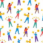 People With Stars - Client Feedback Or Review Seamles Pattern, Online Service Evaluation, Happy Cust poster