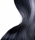 image of hair streaks  - Black Hair Isolated on a White Background - JPG