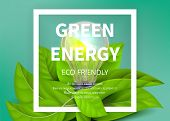 Green Energy Background. Eco Light Bulb, Green Leaves. Eco Friendly Vector Ad Banner. Realistic Ligh poster